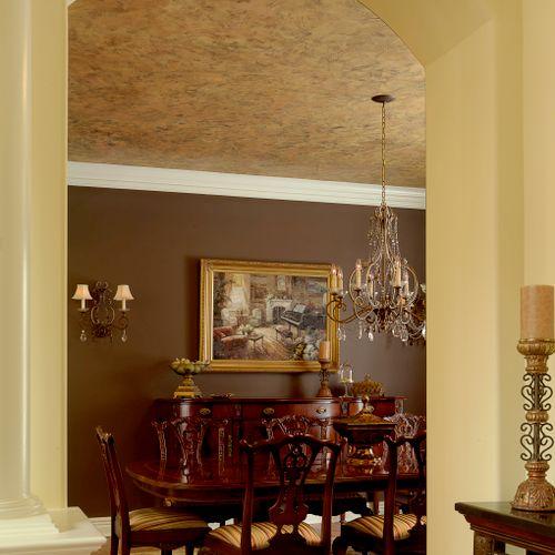 Custom metallic plaster on ceiling.