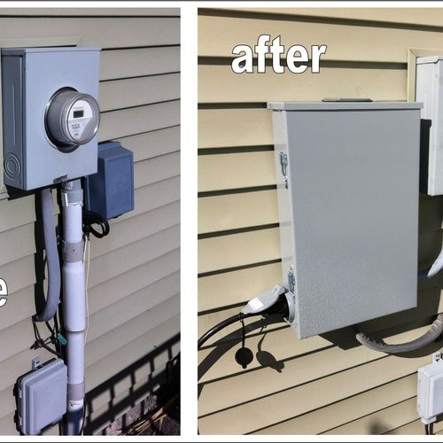 There are many ways to safely connect a portable generator to your home's electric service for use during a power failure. In this example, the generator power inlet and interlocked circuit breaker are part of an outdoor enclosure on the back of this customer's house.