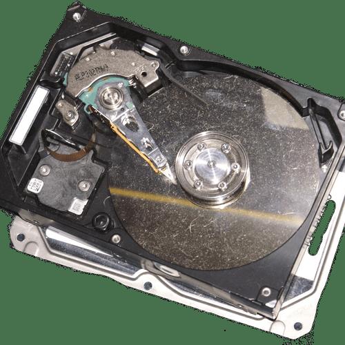 Inside a hard disk.