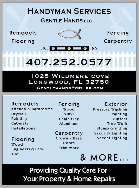 Gentle Hands  Remodels and Handyman Services
