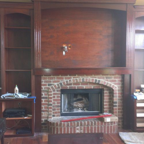 wall unit made out of maple, and maple plywood,17 ft wide x 11ft  tall, pull out solid maple drawers