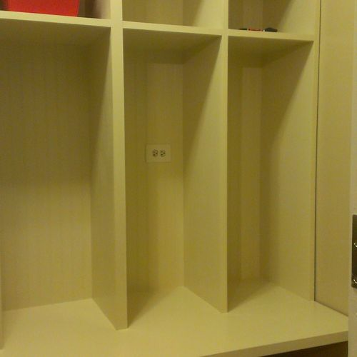 lockers made from MDO plywood, great for painting, solid wood face frame to give it a finished look