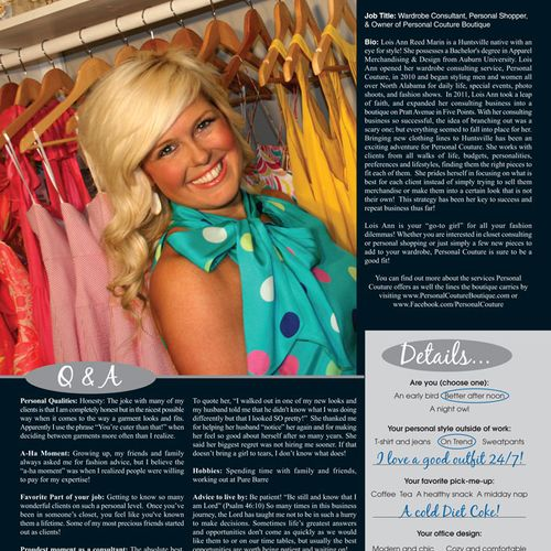 """Recently featured in Event Magazine as one of several """"Women in Business"""" (pg. 41) http://eventhuntsville.com/index.php?option=com_wrapper&view=wrapper&Itemid=219"""