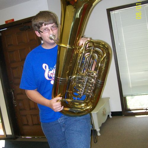Tuba student has to be full of air!