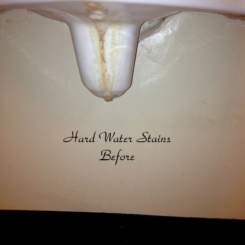 Hard Water Stains Before Our Deep Cleaning