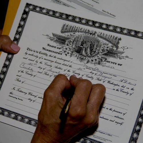 As your wedding officiant, I complete your marriage license and mail it to the county for you.