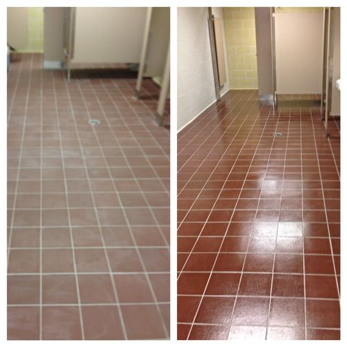 Restroom before and after cleaning and coating with ICON coating.