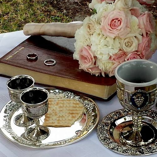 After the wedding vows are read as a testimony to each other we partake in communion as establishing a covenant with our God.