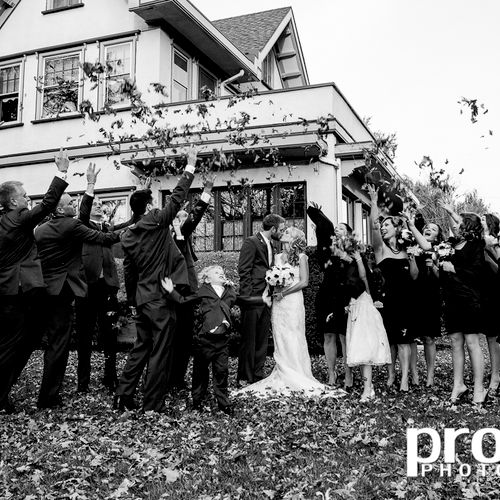 Beautiful wedding. Photo is taken at the house that the groom grew up in.