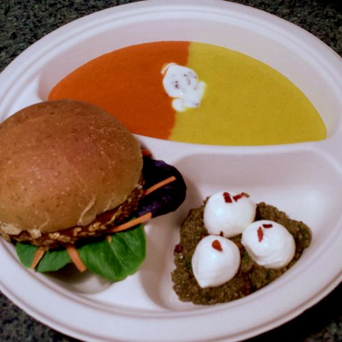 Colorful Bell Pepper Soup; Tofu Burger in a Dill Bun; Bocconcini with fresh Tapenade (Black and green olives paste)
