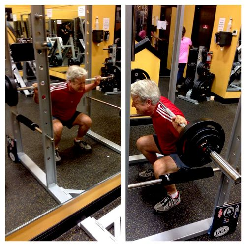 Mid-50's and STILL has great hip function as shown here with barbell squats!