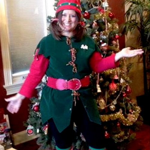 I also dress up as an elf and Mrs Claus, for the holiday season.