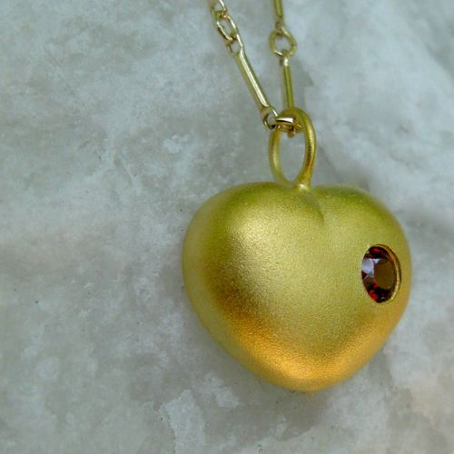 """Heart pendant in gold or gold-filled with ruby or garnet:  this is the necklace from the movie """"It's Love Acutally""""!"""