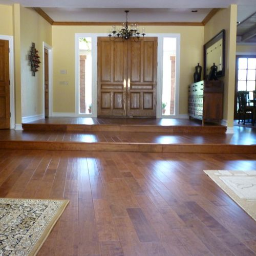 This maple job required sealants, leveling, and concrete grinding-but worth the result!