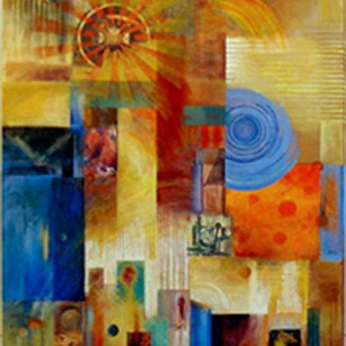 Abstract collage painting. Corporate commisison.