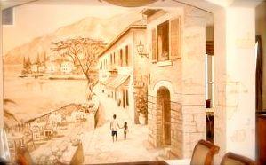 Tuscany trompe l'oeil livingroom mural