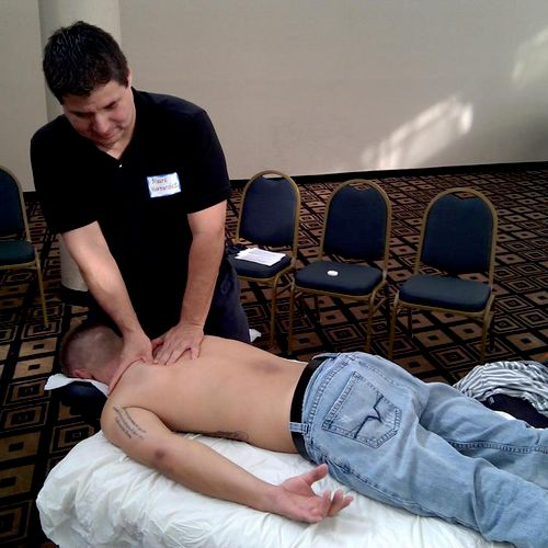 Providing table massage for a military veteran for Ride2Recovery event. Bringing awareness to disabled veterans.