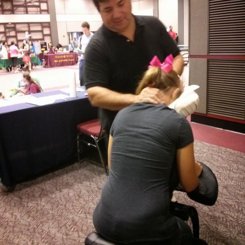 Providing Chair Massage at Texas State in San Marcos for their De-Stress Fair.