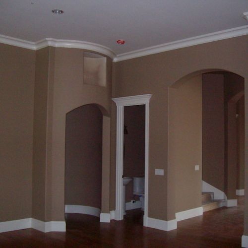 Interior walls, ceiling, crown, and base