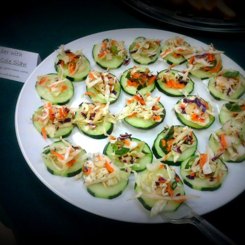 Cucumber canapés offer a healthy hors d' oeuvre option.