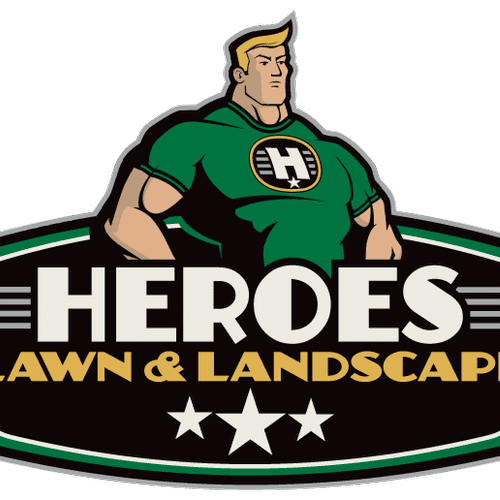 Heroes Lawn and Landscape Logo.  Captain Green is here to Save the day!