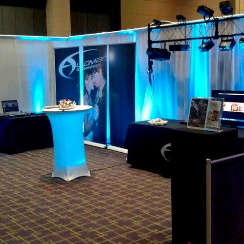 Our booth at the bridal shows.