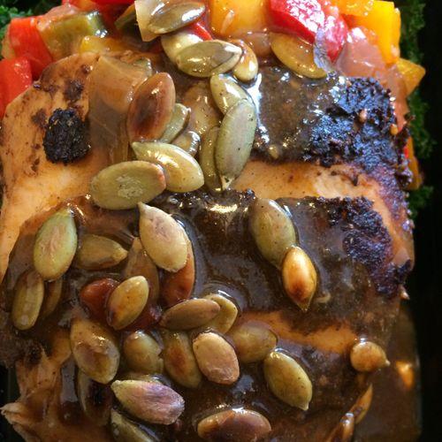Mole Turkey with Veracruz Vegetable Stew, Pumpkin Seeds