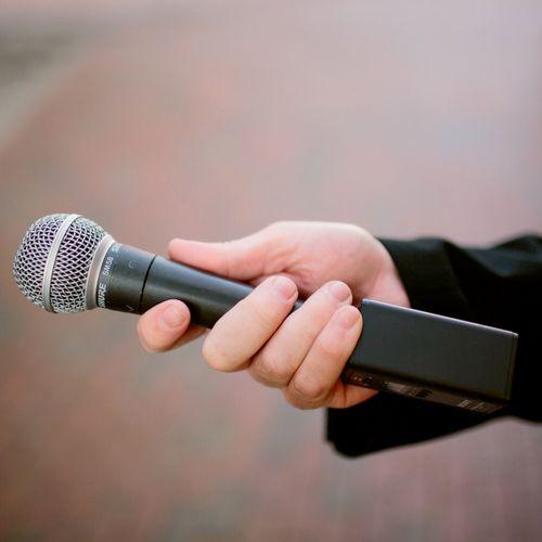 Wireless hand held using an XLR cube transmitter makes capturing interviews ideal