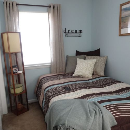 From inspiration to design ~~ A favorite piece of artwork was the inspiration, turning this young boys room into a peaceful place for guests to rest.