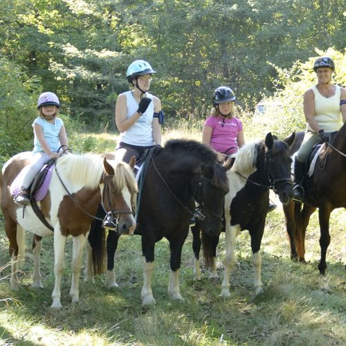 A fun day on the trails with Jada riding Bays, Becc riding Mr. Jiggs, Carmen riding Ice Cream and Betsy astride her Mahogany.