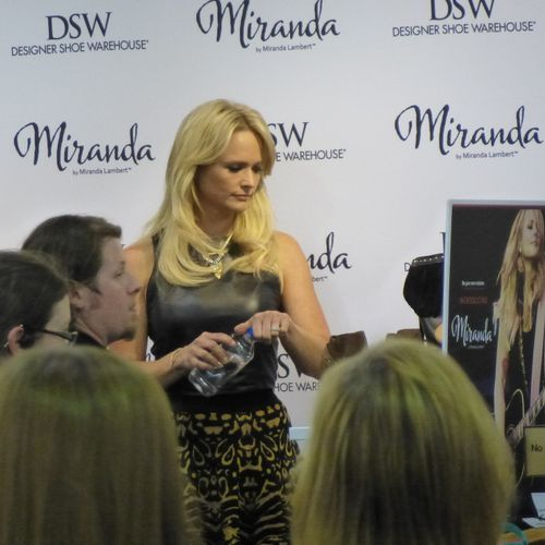 Miranda Lambert kicking off her shoe line at DSW in Frisco.  We played all her music for her while fans lined up to meet her and buy her shoes.