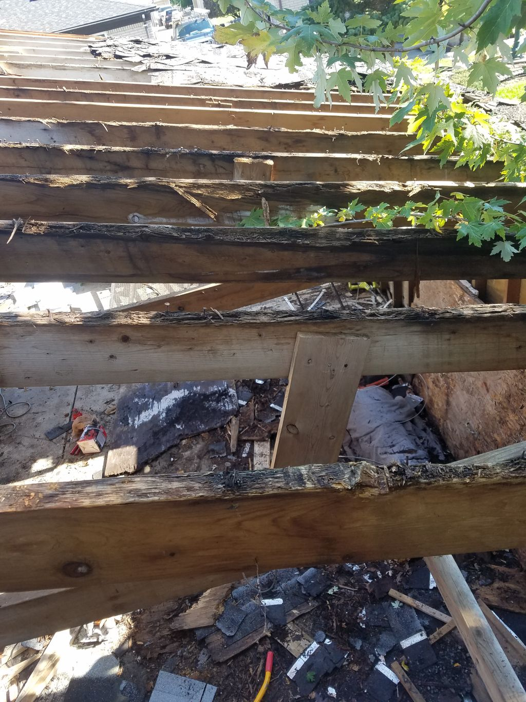 Replacement of rafters and roof decking