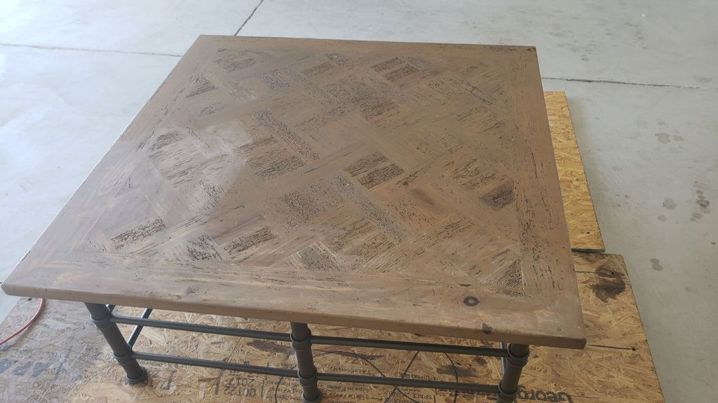 Refinish of Wormy Pine Coffee Table