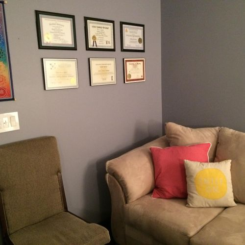 I share office space with fellow Radiate Wellness practitioner Kathy Lesmeister. We don't have room to display all of our certifications, but these are our highlights. :-)