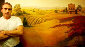Large painting for Buona Sera Italian Restaurant dining room.