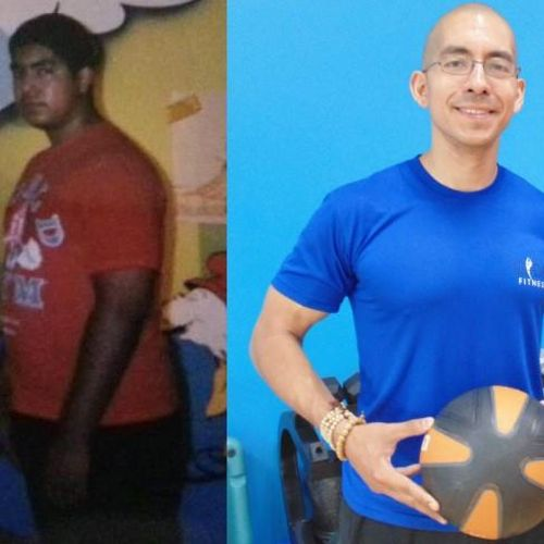 Before losing 125 lbs on the left.
