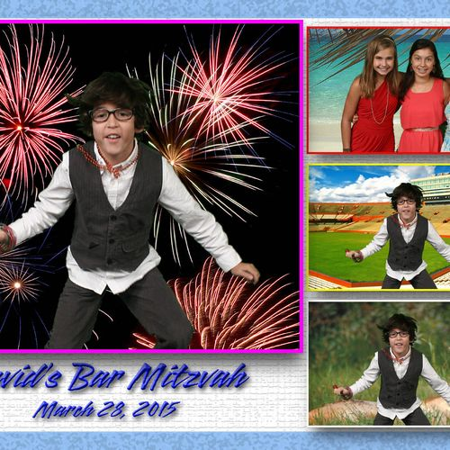 Bar Mitzvah using 4 different pictures all on 1 print!  Guests loved the pictures.  Looks so much better than the tiny strips!