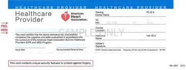 Sample CPR BLS card for Healthcare Providers from American Heart Association