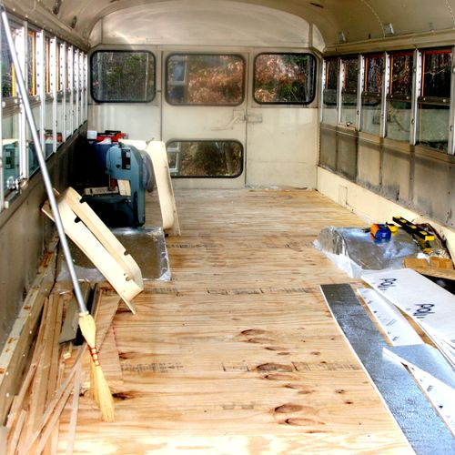 This project began as a school bus.  This is one of the first steps in making it into a home.