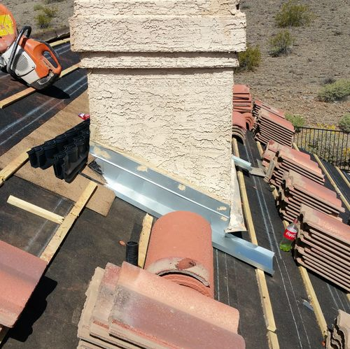 Tile Underlayment and chimney flashing
