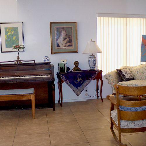 Panorama of piano studio in my home.