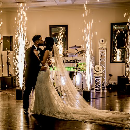 Platinum package with sparkler machines and live drummer