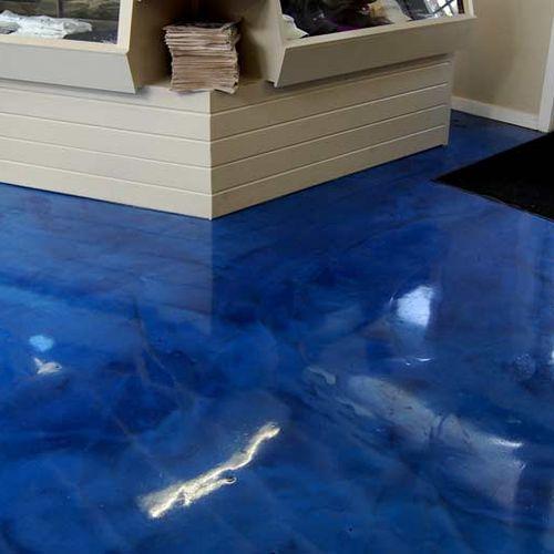 Ocean Blue Metallic Marble