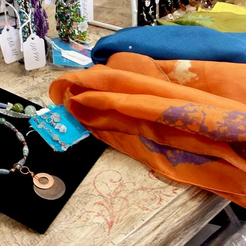 Hand-dyed silk scarves for winter