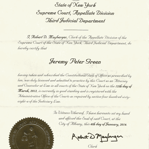 Certificate of Good Standing with the New York Bar.