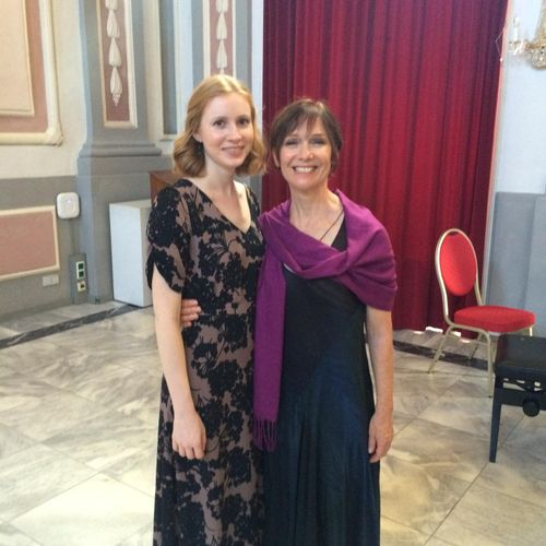 My pianist, Maggie, and I after a performance in Graz, Austria.