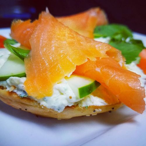 Smoked Salmon Goat Cheese & Cream Fresh herbs on a Everything Bagel