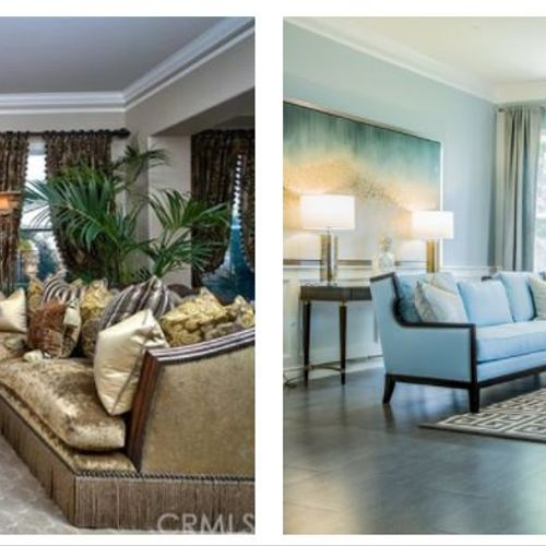 Before & After:  Gutted and modernized this Living Room then staged for sale.