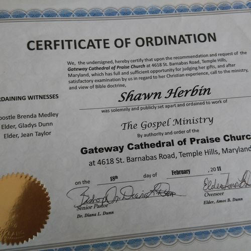 Certificate of my ordination
