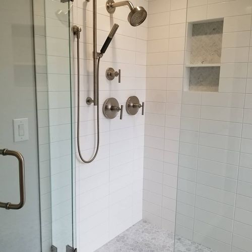 Euro glass door, separate handheld shower, built in niche with shelf